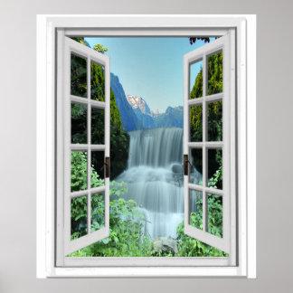 Waterfall Trompe l'oeil Effect Fake Window Poster