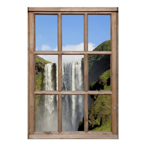 Waterfall View from a Window Poster