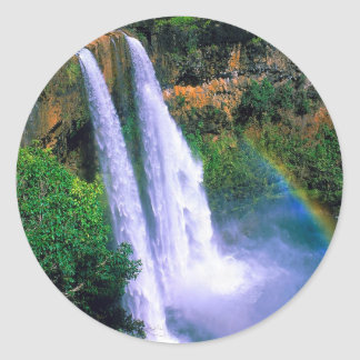 Waterfall Wailua Kauai Hawaii Classic Round Sticker