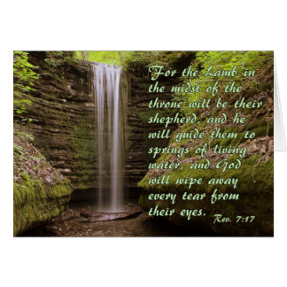 Waterfall with Rev. 7:17 verse Card