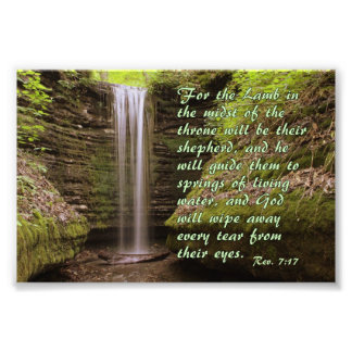 Waterfall with Rev. 7:17 verse Photo Print