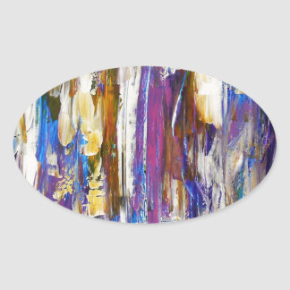 Waterfalls and Ice Cubes Oval Sticker