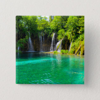 Waterfalls at Plitvice National Park in Croatia 2 Inch Square Button
