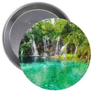 Waterfalls at Plitvice National Park in Croatia 4 Inch Round Button