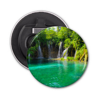 Waterfalls at Plitvice National Park in Croatia Button Bottle Opener