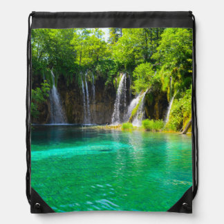 Waterfalls at Plitvice National Park in Croatia Drawstring Bag
