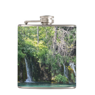 Waterfalls at Plitvice National Park in Croatia Flask