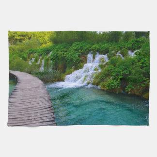 Waterfalls at Plitvice National Park in Croatia Kitchen Towel