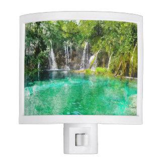 Waterfalls at Plitvice National Park in Croatia Nite Lights