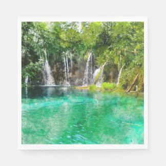Waterfalls at Plitvice National Park in Croatia Paper Napkin