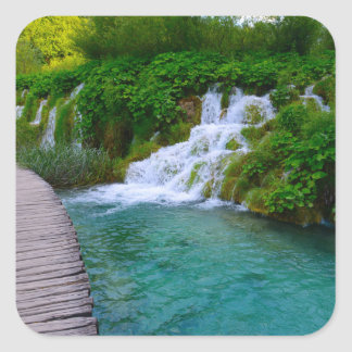 Waterfalls at Plitvice National Park in Croatia Square Sticker