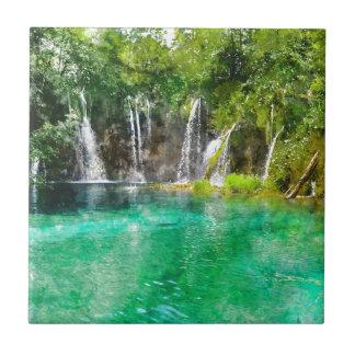 Waterfalls at Plitvice National Park in Croatia Tiles