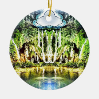 Waterfalls from the cloud ceramic ornament