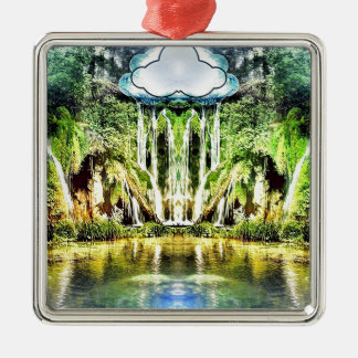 Waterfalls from the cloud metal ornament