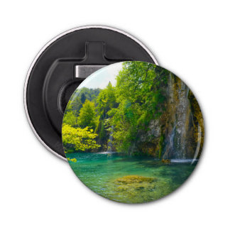 Waterfalls in Plitvice National Park in Croatia Button Bottle Opener