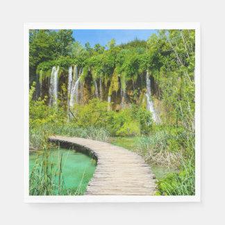Waterfalls in Plitvice National Park in Croatia Disposable Napkins
