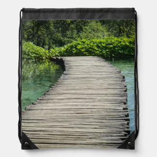 Waterfalls in Plitvice National Park in Croatia Drawstring Bag