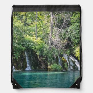 Waterfalls in Plitvice National Park in Croatia Drawstring Bag