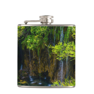 Waterfalls in Plitvice National Park in Croatia Flask