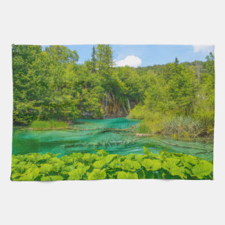 Waterfalls in Plitvice National Park in Croatia Kitchen Towel