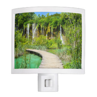 Waterfalls in Plitvice National Park in Croatia Night Lights
