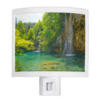 Waterfalls in Plitvice National Park in Croatia Nite Lights
