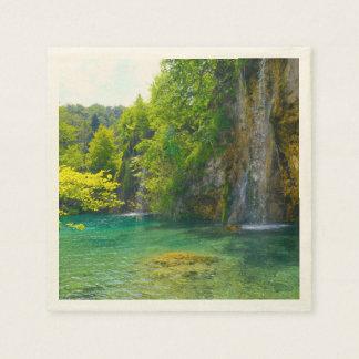 Waterfalls in Plitvice National Park in Croatia Paper Napkin