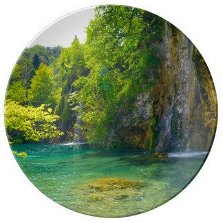 Waterfalls in Plitvice National Park in Croatia Plate