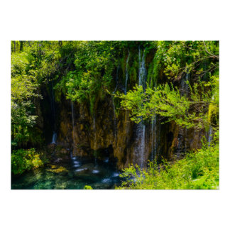 Waterfalls in Plitvice National Park in Croatia Poster