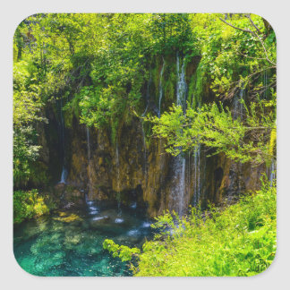 Waterfalls in Plitvice National Park in Croatia Square Sticker