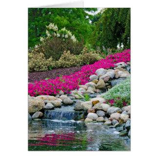 Waterfalls in rock garden card
