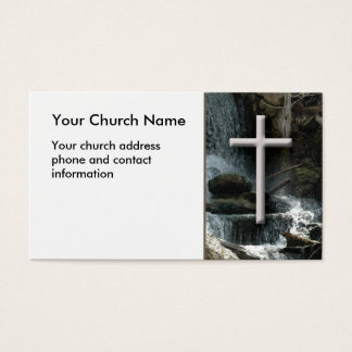 Waterfalls with cross Christian Business Card