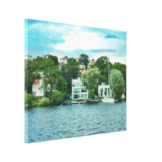 Waterfront houses in Sweden Canvas Print