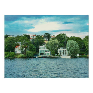 Waterfront houses in Sweden Poster