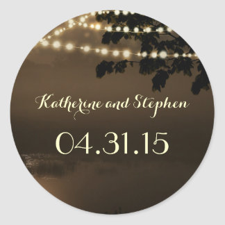 Waterfront Rustic String Lights Trees Wedding Classic Round Sticker