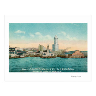 Waterfront View of Port and Smith Tower Postcard