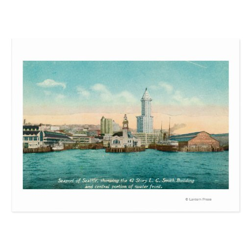 Waterfront View of Port and Smith Tower Post Card