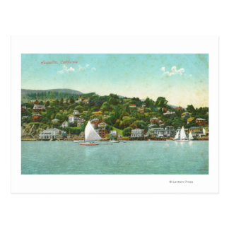 Waterfront View of the City, Sail Boats Postcard