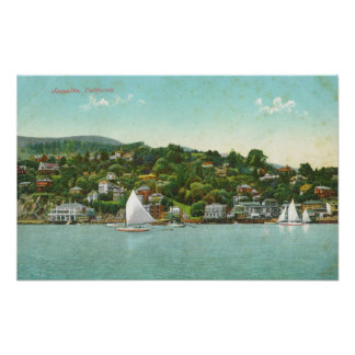 Waterfront View of the City, Sail Boats Poster