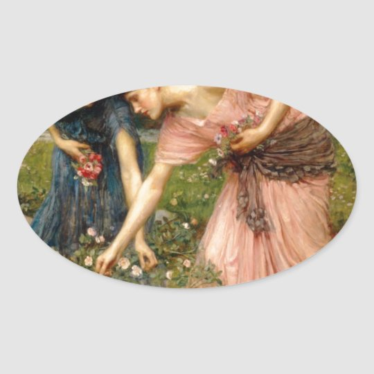 Waterhouse-gather_ye_rosebuds-1909. Oval Sticker