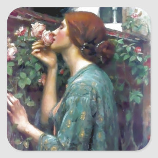 Waterhouse Scented Rose painting Square Sticker