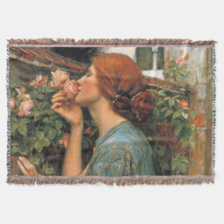 Waterhouse: Smell of Roses Throw Blanket