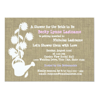 "Watering Can and Burlap Bridal Shower 5"" X 7"" Invitation Card"