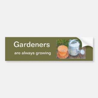 Watering Can and Pots Car Bumper Sticker