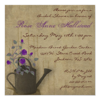 Watering Can Floral Bridal Shower Invitation