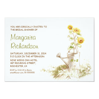 Watering can with sunflowers bridal shower invites
