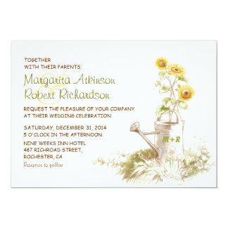 Watering can with sunflowers rural wedding invites