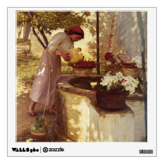 Watering Flowers From the Well Wall Sticker