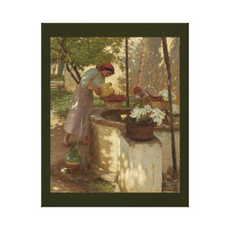 Watering Flowers from Well Canvas Print