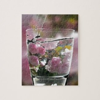 Watering Pink Flowers In A Glass Jigsaw Puzzle